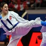 Photo taken during Bronze bout of 2017 Karate 1 Premier League Paris: Female kumite -68 kg Japan Quirici Elena Someya Kayo Switzerland