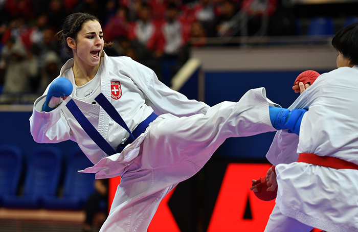 Photo taken during Bronze bout of 2017 Karate 1 Premier League Paris: Female kumite -68 kg Japan Quirici Elena Someya Kayo Switzerland